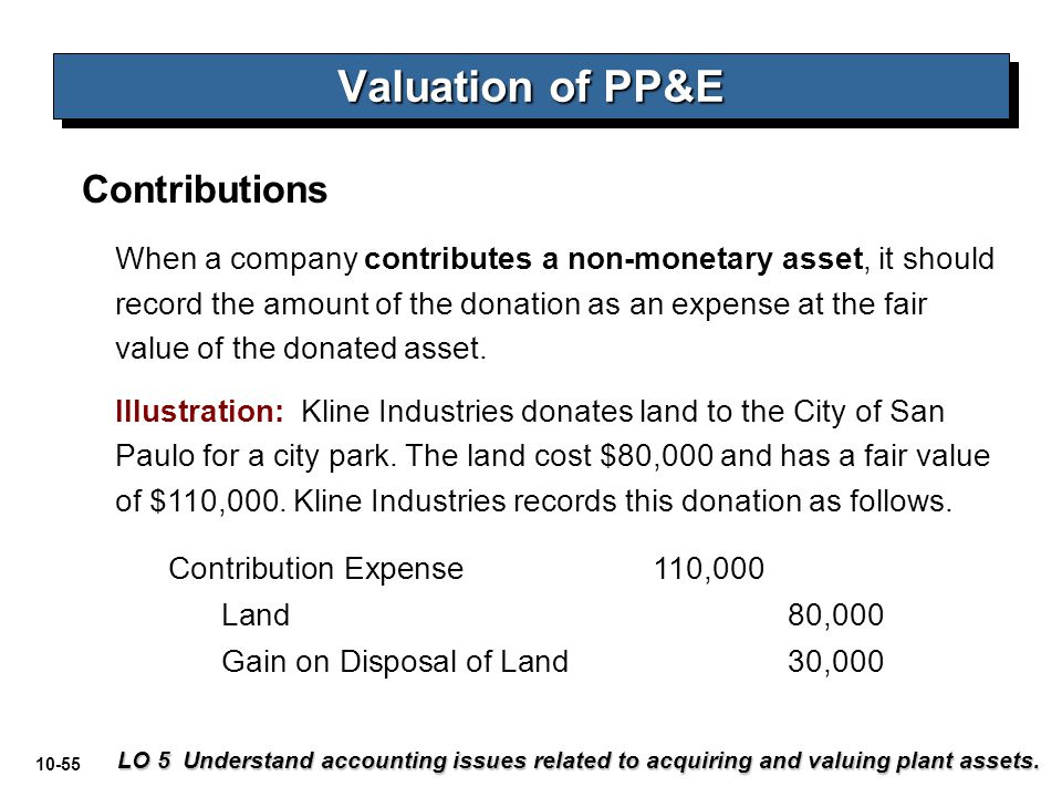 Valuation of PP&E Contributions