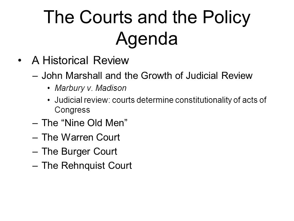 The Courts and the Policy Agenda