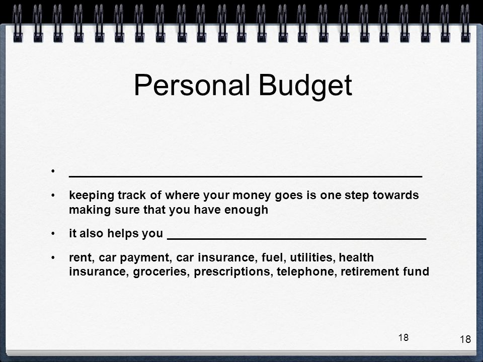 Personal Budget _____________________________________________________