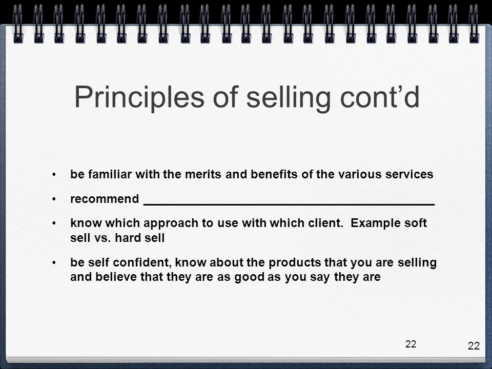 Principles of selling cont'd