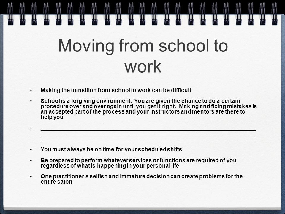 Moving from school to work