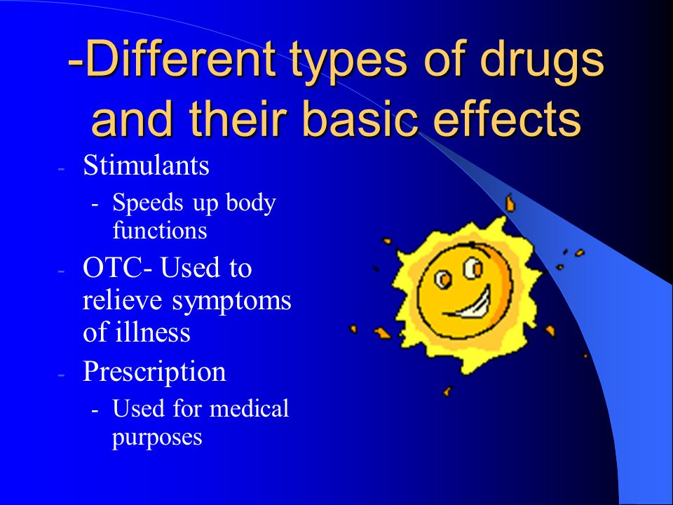 Different types of drugs and their basic effects