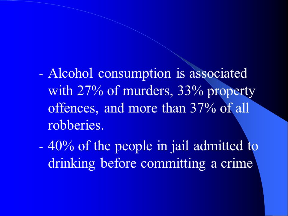 Alcohol consumption is associated with 27% of murders, 33% property offences, and more than 37% of all robberies.