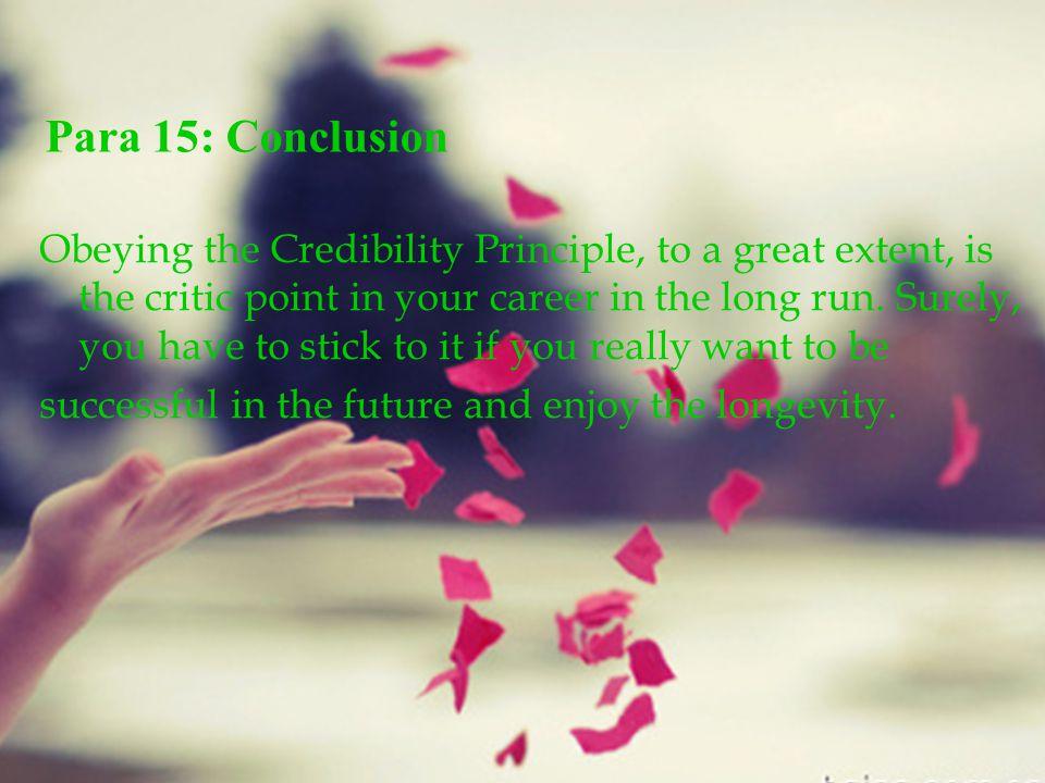 Para 15: Conclusion