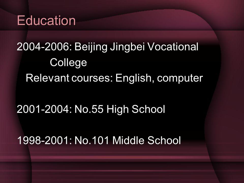 Education 2004-2006: Beijing Jingbei Vocational College