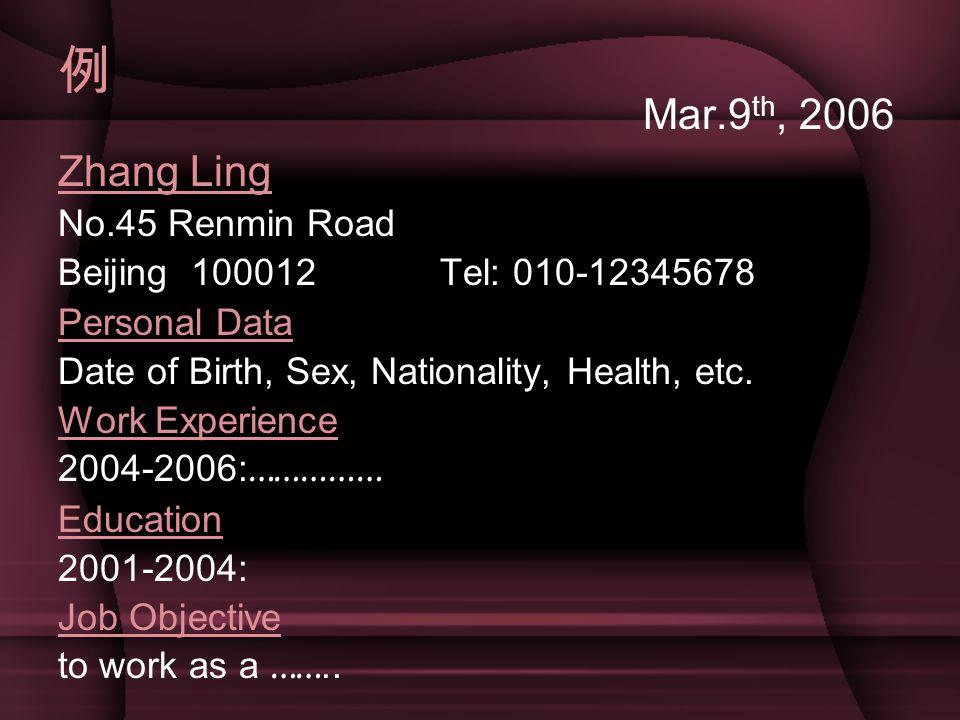 例 Mar.9th, 2006 Zhang Ling No.45 Renmin Road
