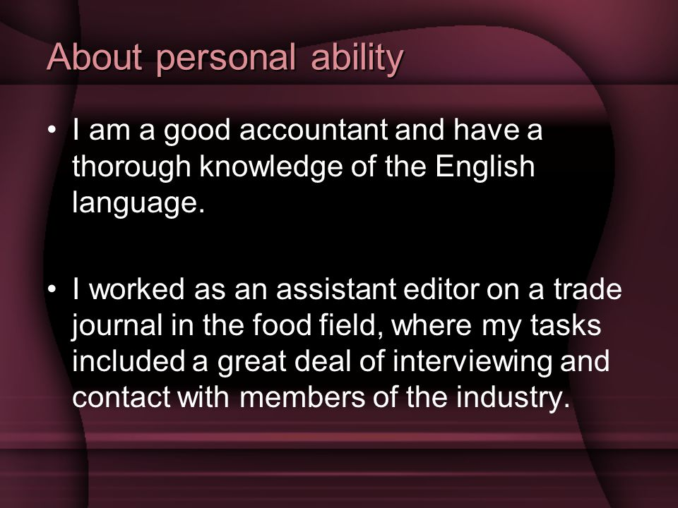 About personal ability