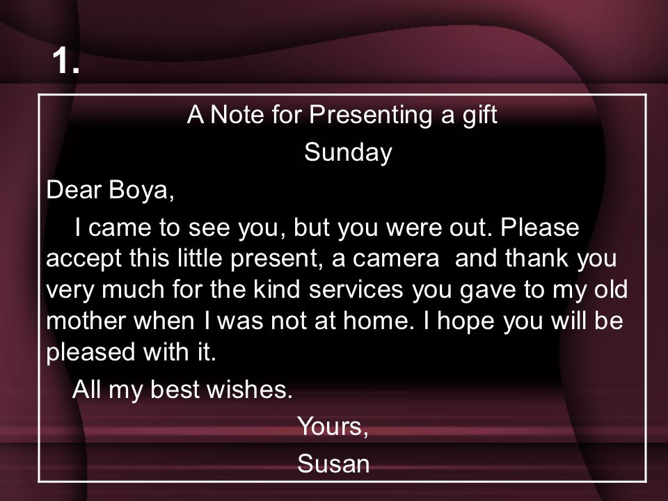 A Note for Presenting a gift