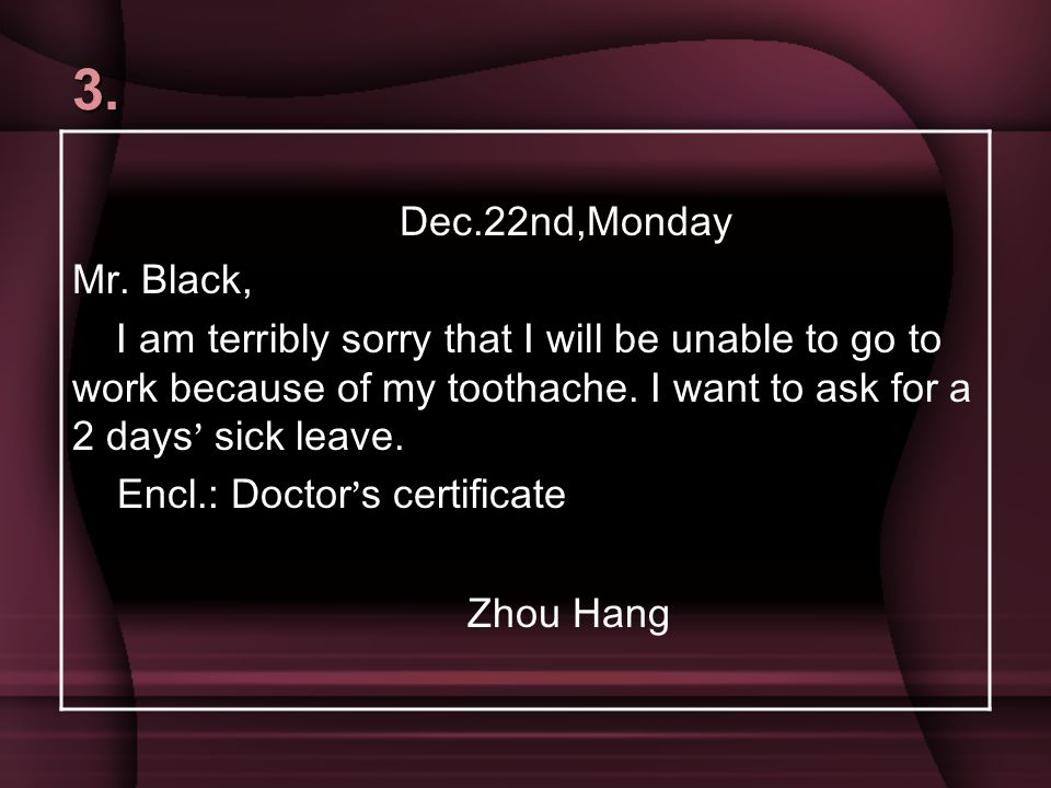 3. Dec.22nd,Monday. Mr. Black,
