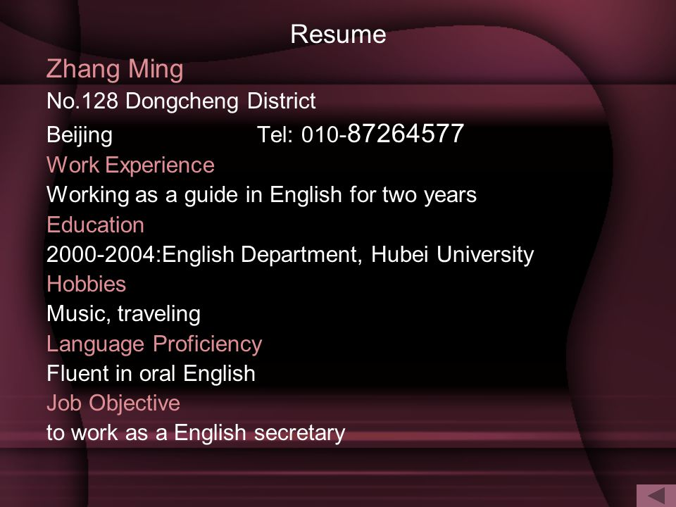Resume Zhang Ming No.128 Dongcheng District Beijing Tel: 010-87264577