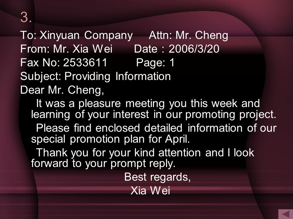 3. To: Xinyuan Company Attn: Mr. Cheng