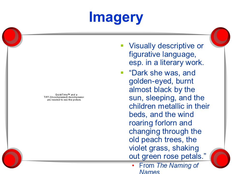 Imagery Visually descriptive or figurative language, esp. in a literary work.