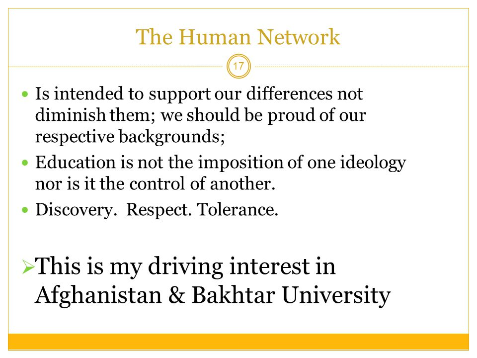 This is my driving interest in Afghanistan & Bakhtar University
