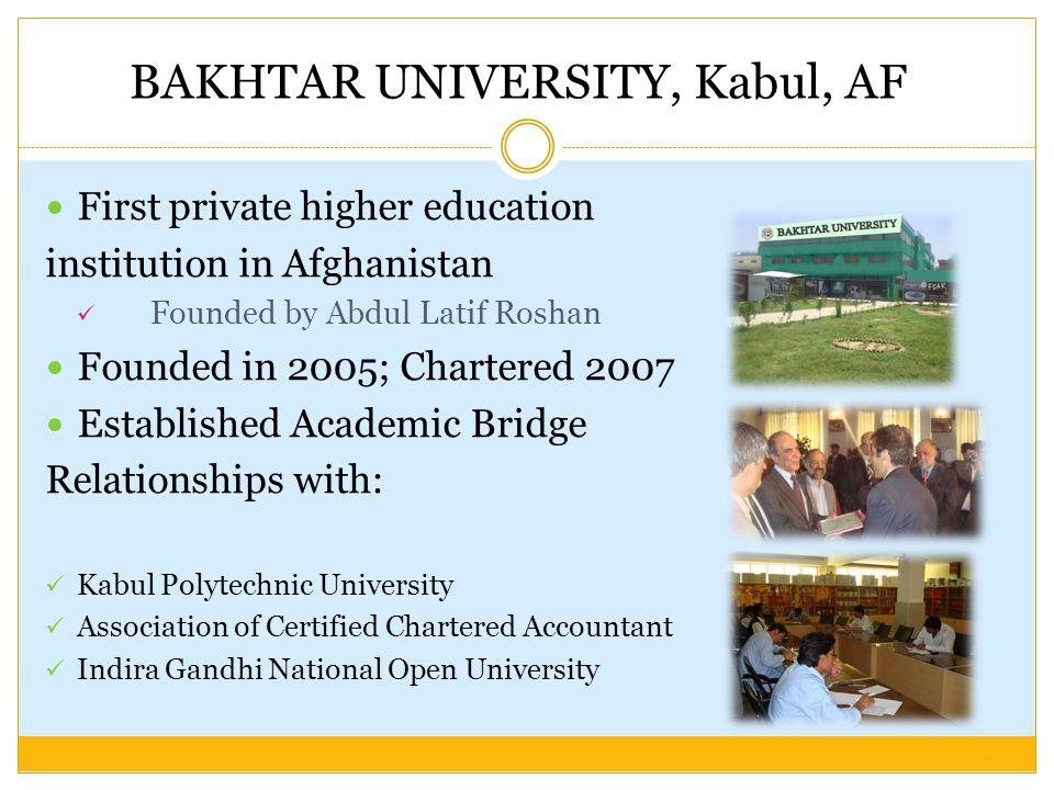 BAKHTAR UNIVERSITY, Kabul, AF