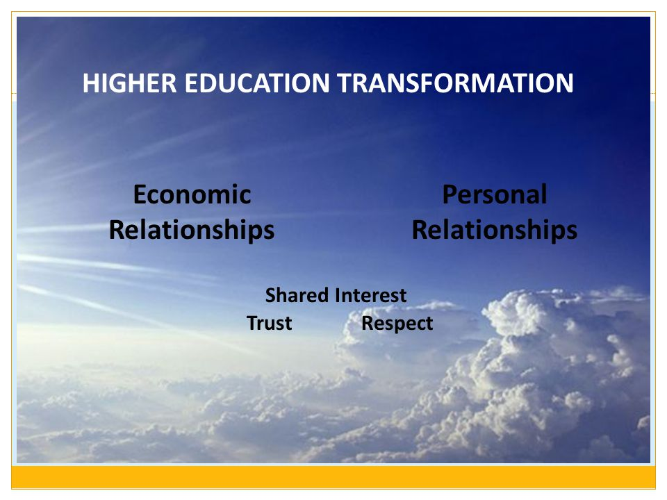 HIGHER EDUCATION TRANSFORMATION Personal Relationships