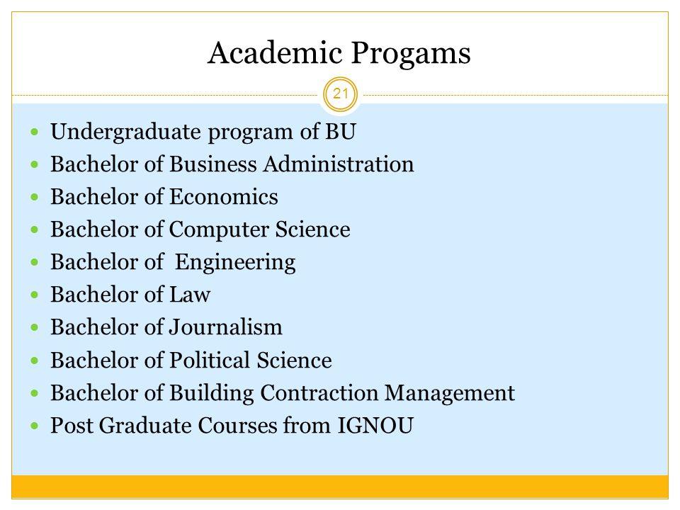 Academic Progams Undergraduate program of BU