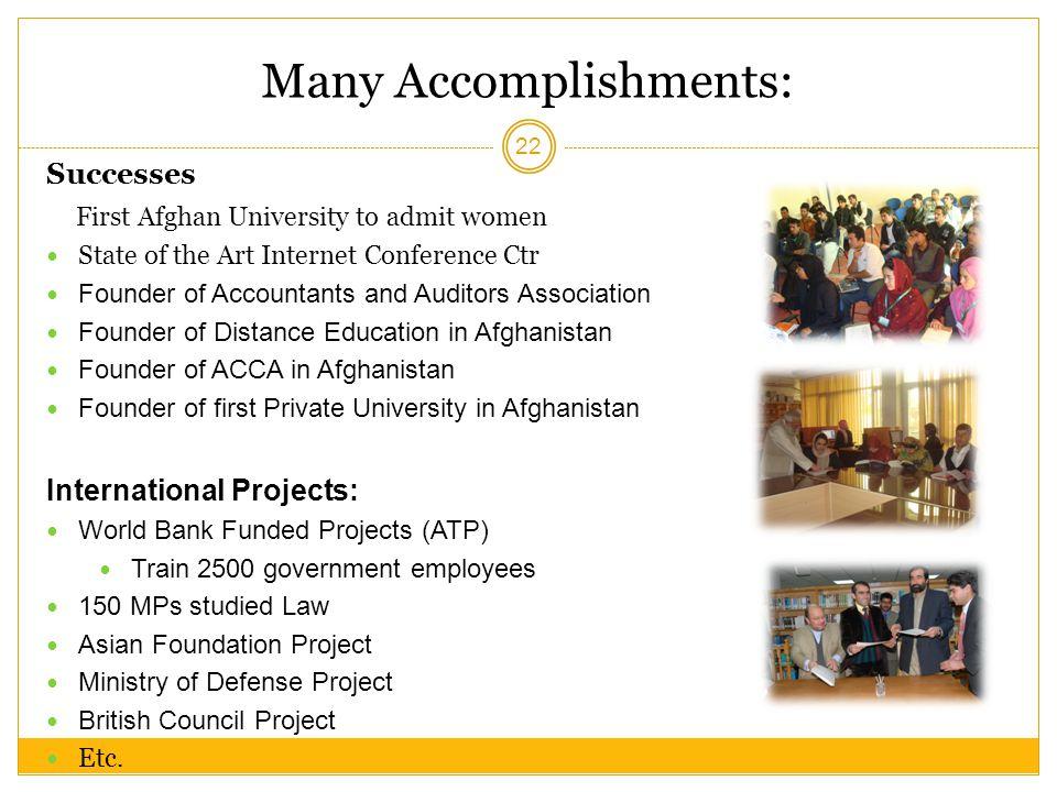 Many Accomplishments:
