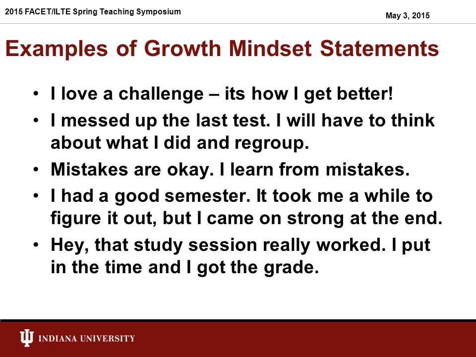 Examples of Growth Mindset Statements