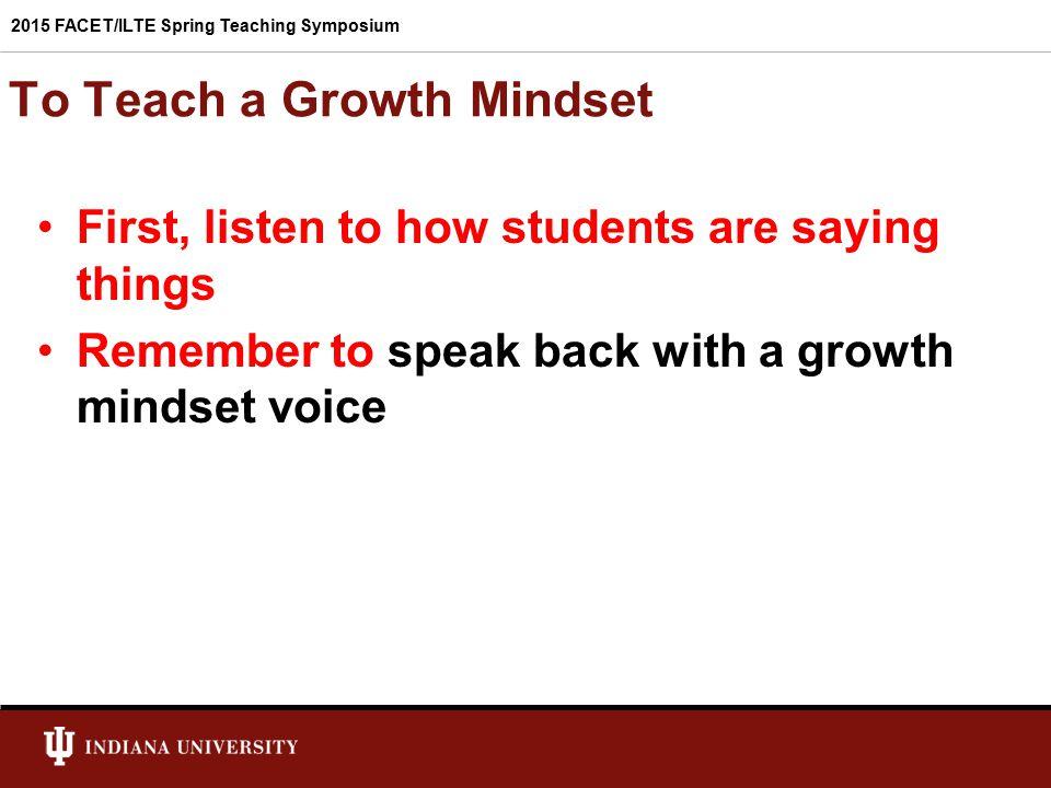 To Teach a Growth Mindset