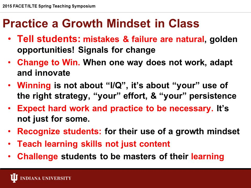 Practice a Growth Mindset in Class