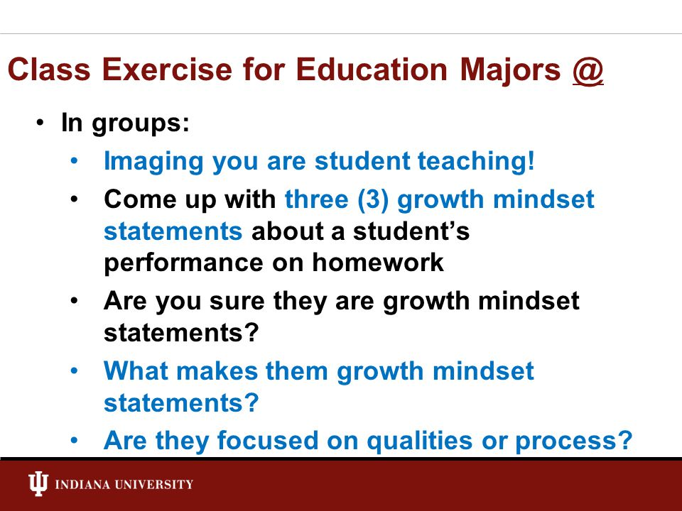 Class Exercise for Education Majors @