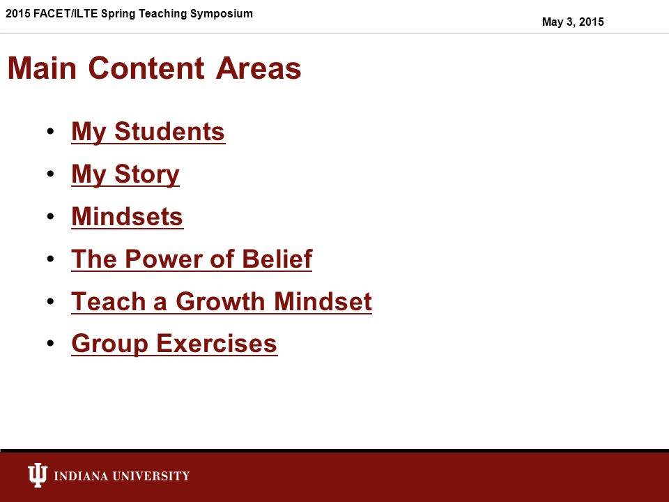 Main Content Areas My Students My Story Mindsets The Power of Belief