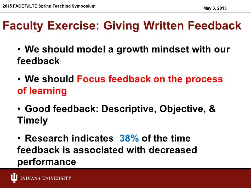 Faculty Exercise: Giving Written Feedback