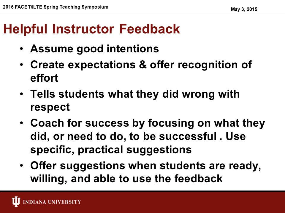 Helpful Instructor Feedback