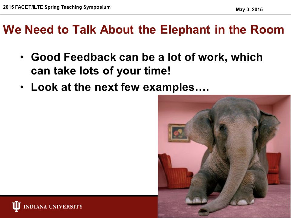 We Need to Talk About the Elephant in the Room