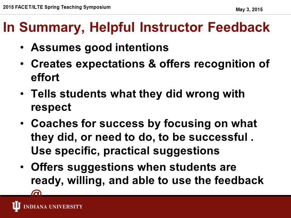 In Summary, Helpful Instructor Feedback