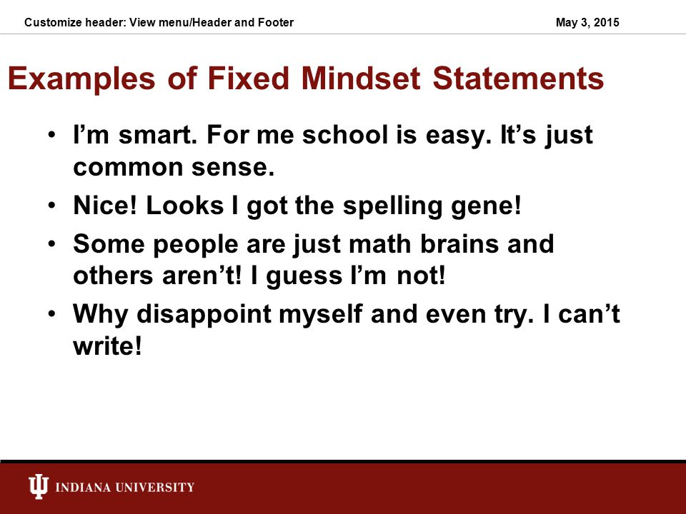 Examples of Fixed Mindset Statements