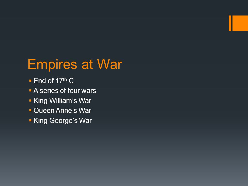 Empires at War End of 17th C. A series of four wars King William's War