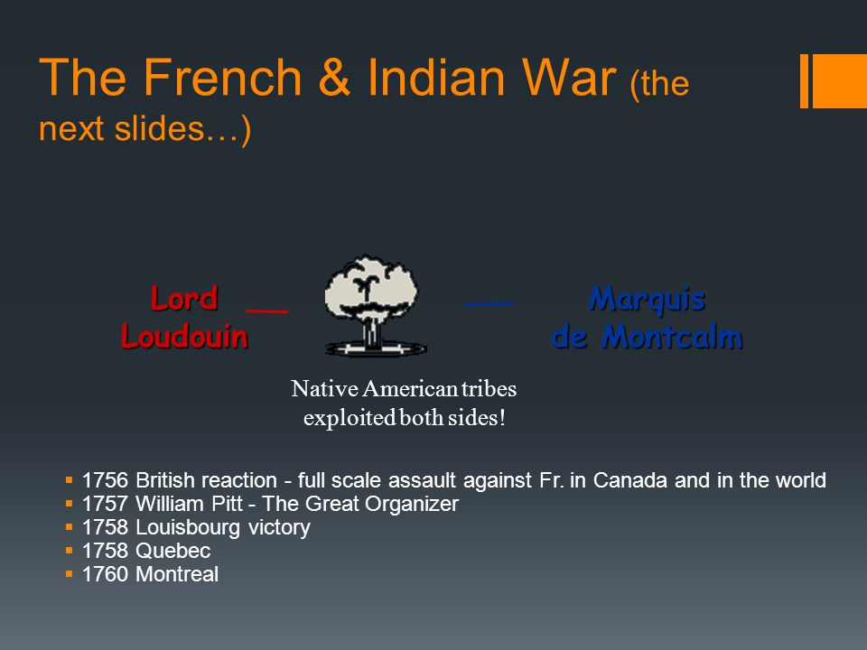 The French & Indian War (the next slides…)