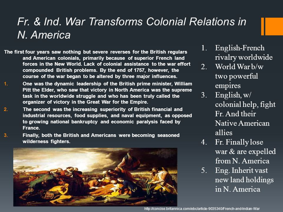 Fr. & Ind. War Transforms Colonial Relations in N. America