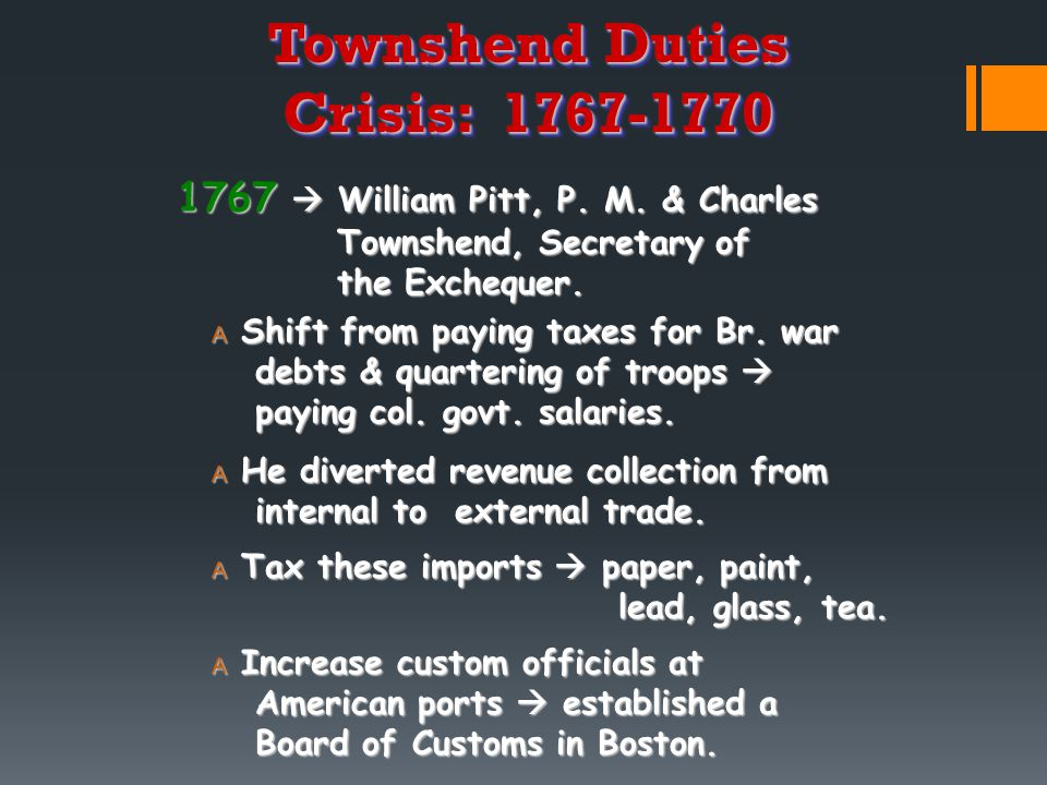 Townshend Duties Crisis: 1767-1770