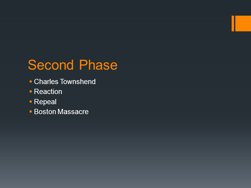 Second Phase Charles Townshend Reaction Repeal Boston Massacre