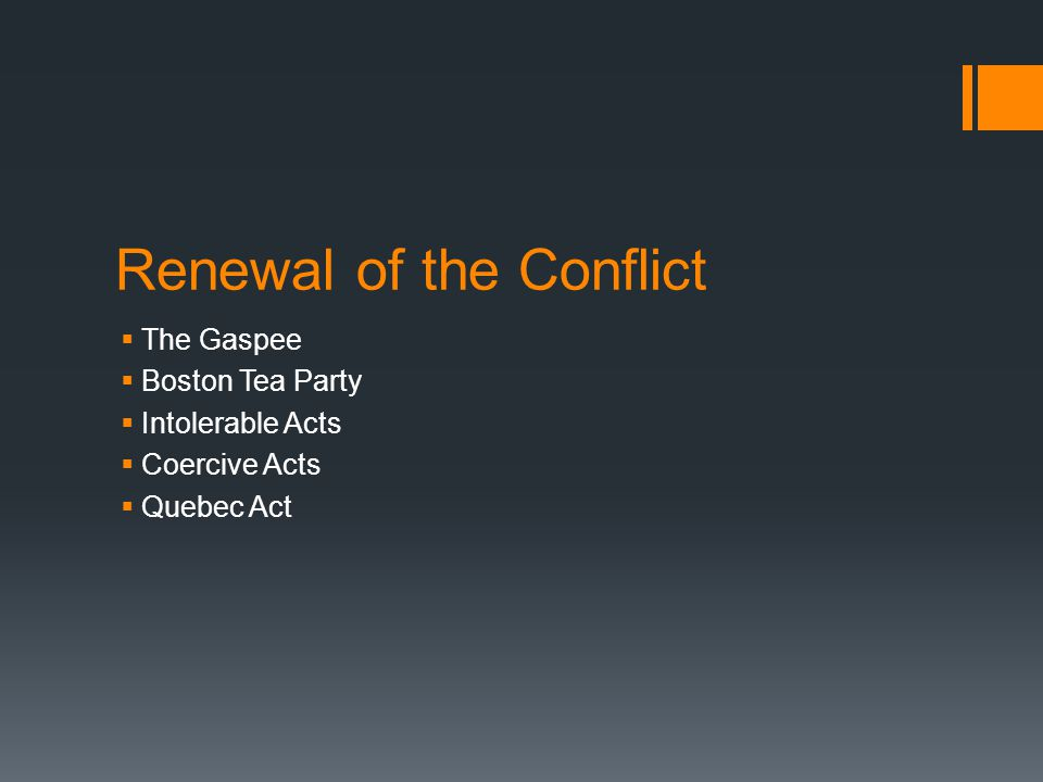 Renewal of the Conflict