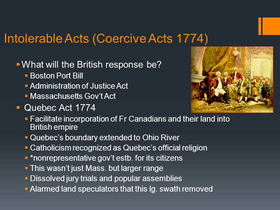 Intolerable Acts (Coercive Acts 1774)