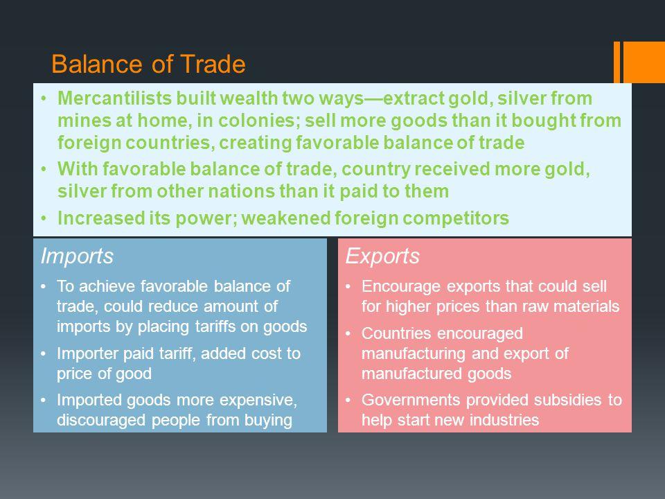 Balance of Trade Imports Exports