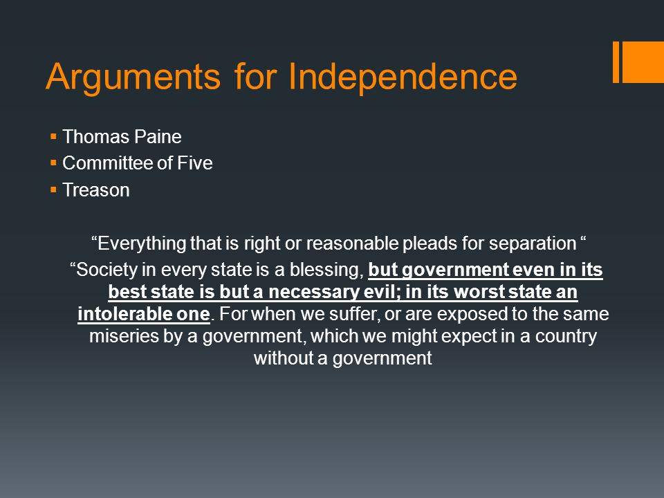 Arguments for Independence