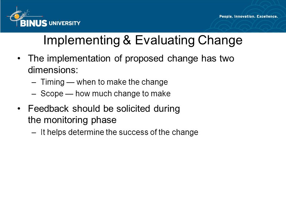 Implementing & Evaluating Change