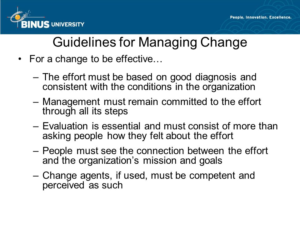 Guidelines for Managing Change