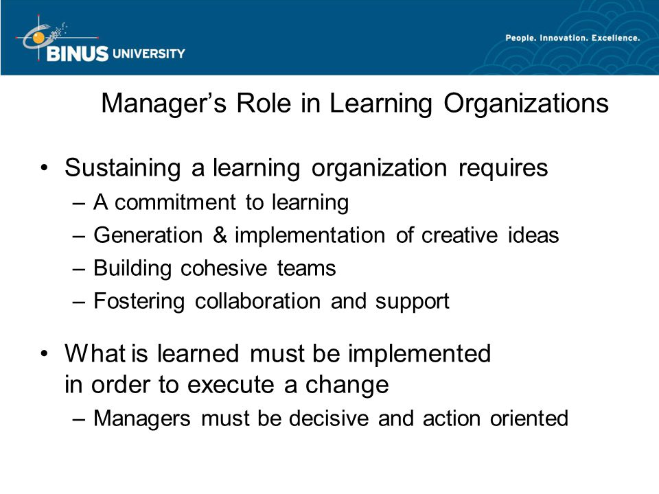 Manager's Role in Learning Organizations