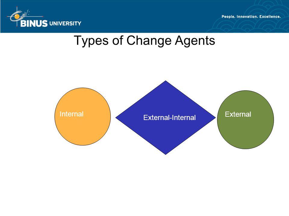 Types of Change Agents External-Internal Internal External