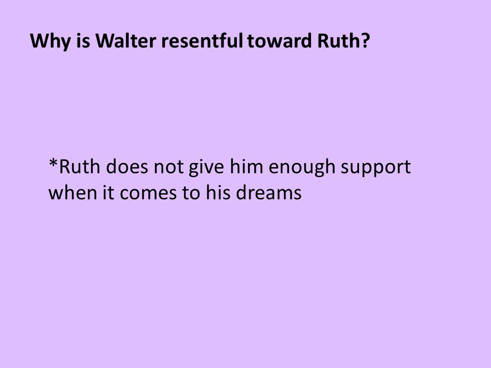 Why is Walter resentful toward Ruth