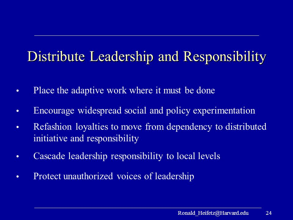 Distribute Leadership and Responsibility
