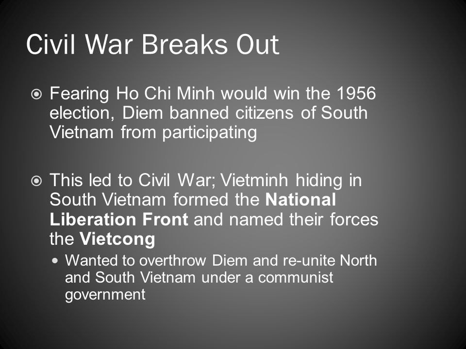 Civil War Breaks Out Fearing Ho Chi Minh would win the 1956 election, Diem banned citizens of South Vietnam from participating.