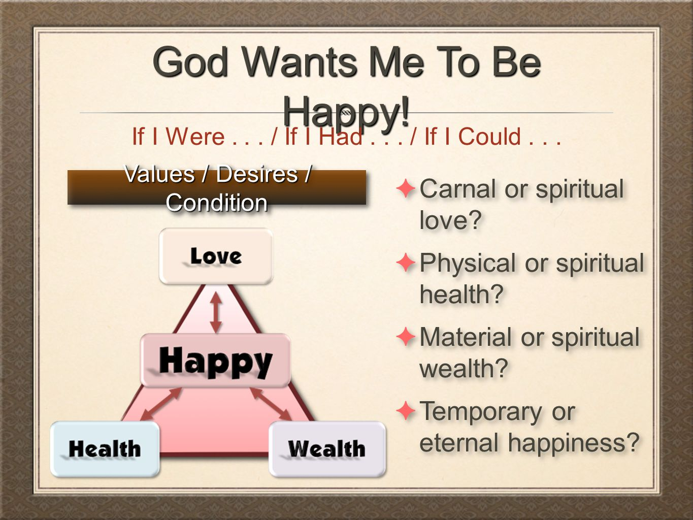 God Wants Me To Be Happy! Carnal or spiritual love