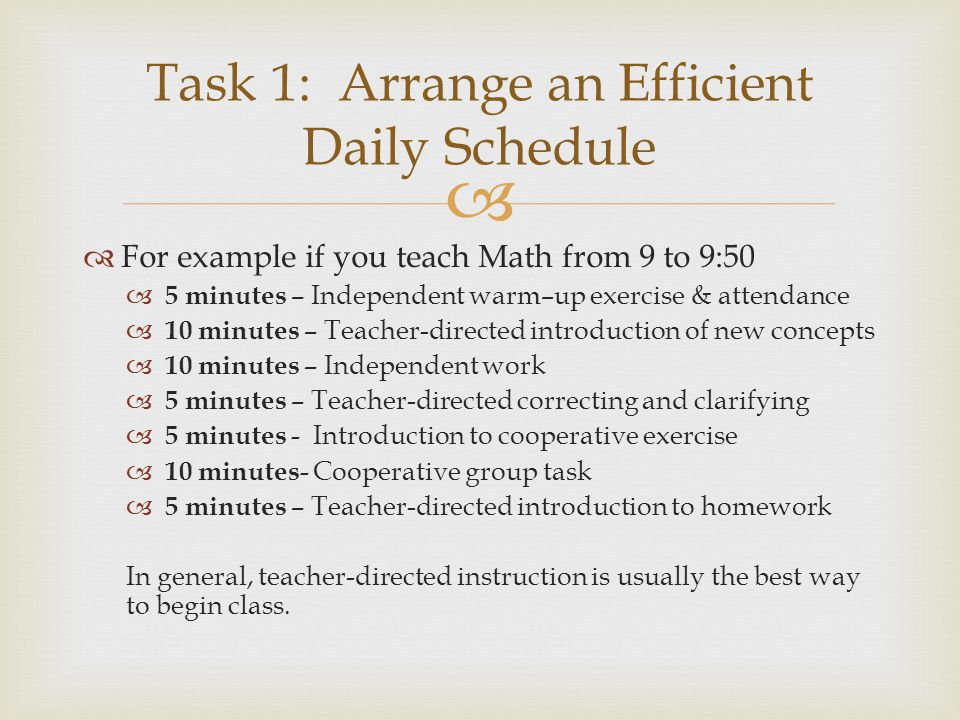 Task 1: Arrange an Efficient Daily Schedule