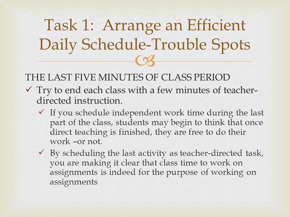 Task 1: Arrange an Efficient Daily Schedule-Trouble Spots